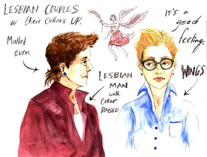 lesbian couples with their collars up